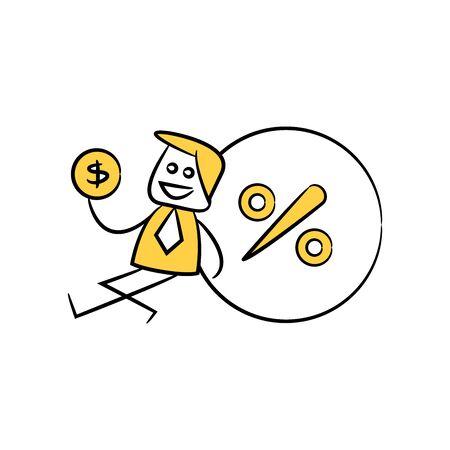 businessman sitting next to percent yellow stick figure doodle theme