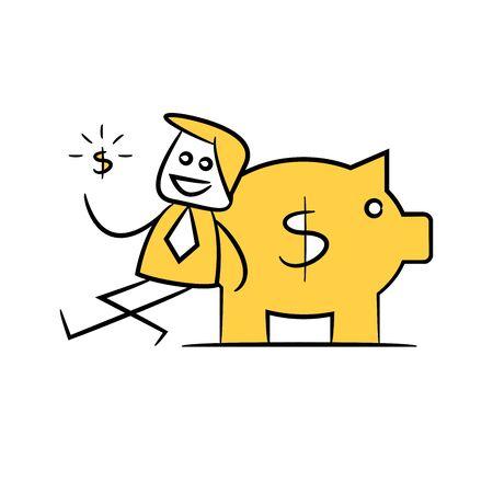 businessman sitting next to piggy bank yellow stick figure doodle theme