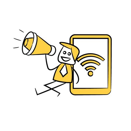 businessman holding megaphone sitting next to smartphone wifi yellow stick figure theme Illustration