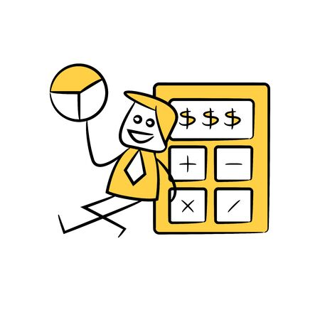 accountant or businessman holds out pie chart and sitting next to calculator yellow stick figure theme Illustration