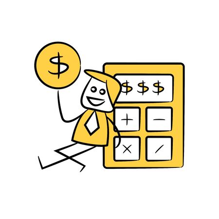 accountant or businessman holds out money and sitting next to calculator yellow stick figure theme