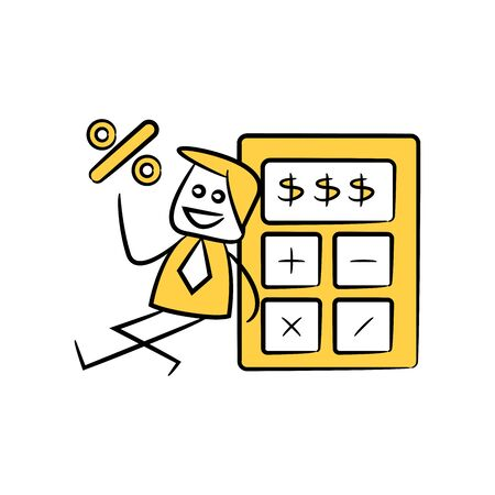 accountant or businessman holds out percent and sitting next to calculator yellow stick figure theme