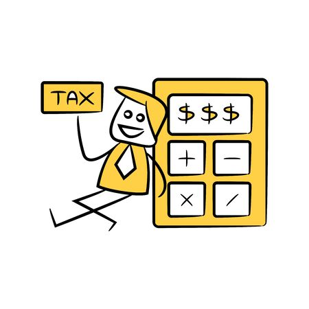 accountant or businessman holds out tax and sitting next to calculator yellow stick figure theme Illustration