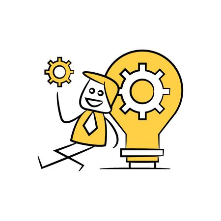 businessman holds out gear and sit next to light bulb gear yellow stick figure theme