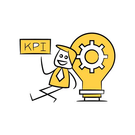 businessman holds out KPI signage sitting next to light bulb gear yellow stick figure theme