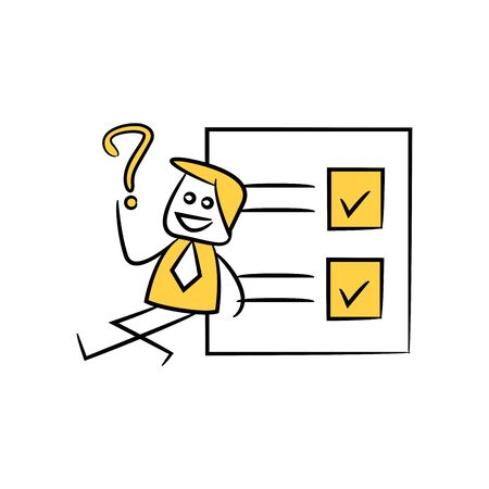 businessman and question mark sitting next to paper check list stick figure theme