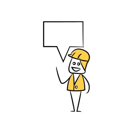 engineer with speech bubble yellow stick figure theme Vetores