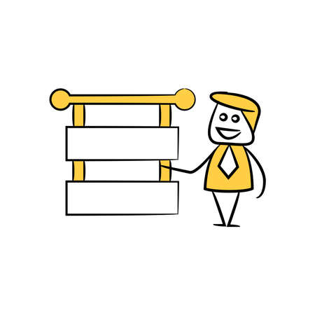 businessman and blank signage or signpost yellow stick figure theme