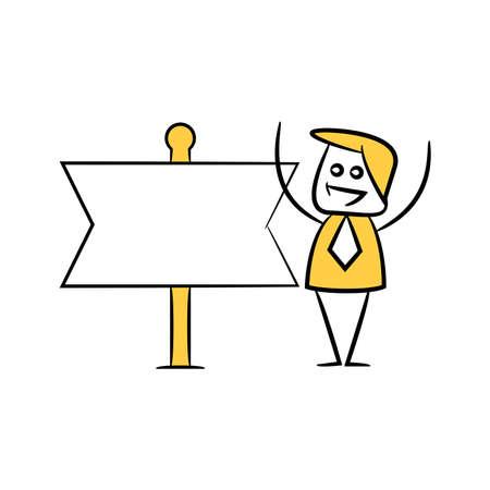 stick figure businessman present with guidepost, signage or signpost Illusztráció
