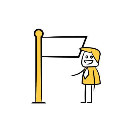 businessman and blank board, signage or signpost yellow stick figure theme Illusztráció