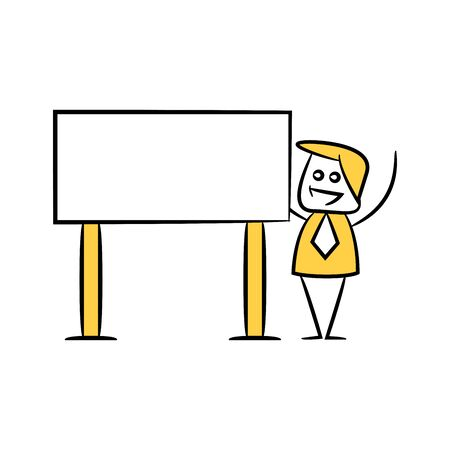 yellow stick figure businessman and guidepost, signage or signpost Illusztráció