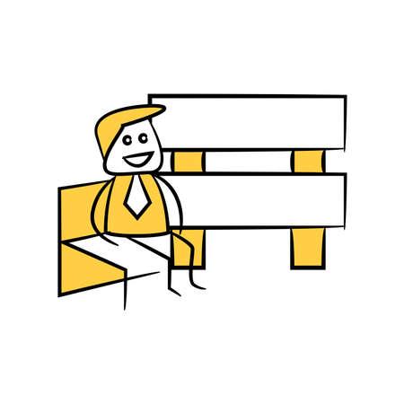 yellow stick figure businessman and guidepost, signage or signpost Ilustração
