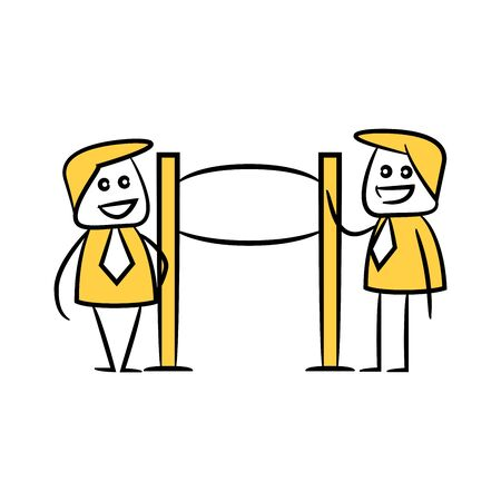 yellow stick figure businessman and guidepost, signage or signpost