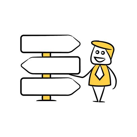 yellow stick figure businessman and guidepost, signage or signpost Vektoros illusztráció