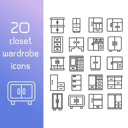 closet and wardrobe icons line design Stock Illustratie