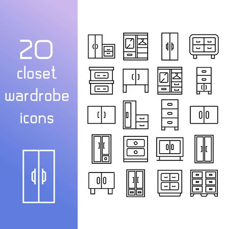 closet and wardrobe icons line design