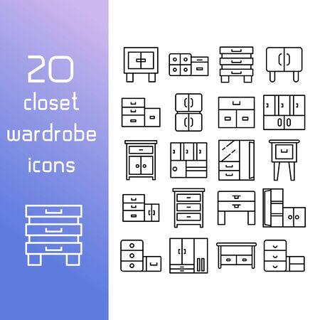 closet and wardrobe icons set
