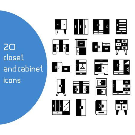 vector set of closet and cupboard icons Ilustración de vector