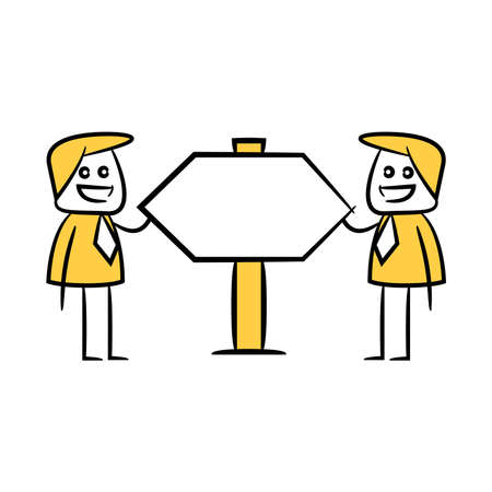 businessman and guidepost, signage or signpost yellow stick figure theme
