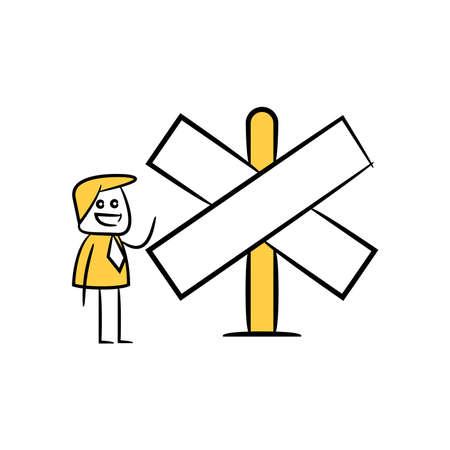 stick figure businessman present with guidepost, signage or signpost Ilustração