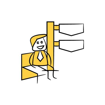 stick figure businessman present with guidepost, signage or signpost