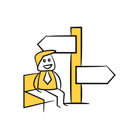 yellow stick figure businessman present with guidepost, signage or signpost