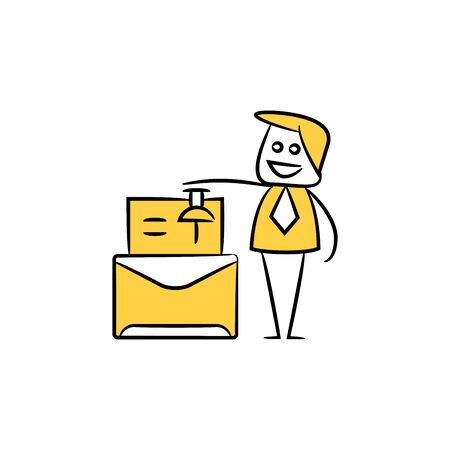 businessman pinning on mail yellow stick figure design