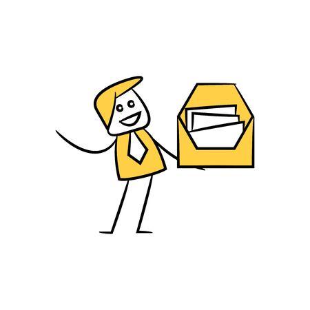 businessman holding mail yellow stick figure design