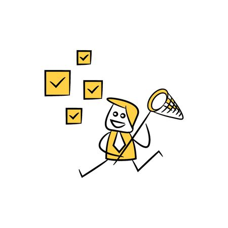 businessman using net spoon to catching check marks icon yellow stick figure