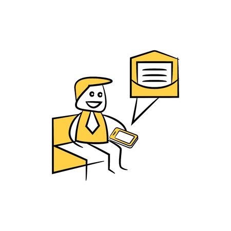 businessman sitting and reading email yellow stick figure design