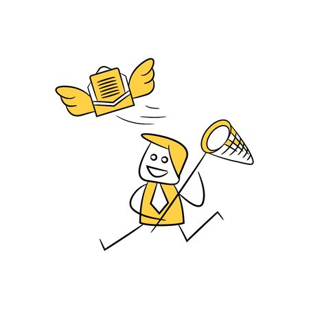 businessman use spoon net to catch mail yellow stick figure design