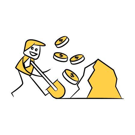 businessman using shovel to digging money coins yellow stick figure design Çizim