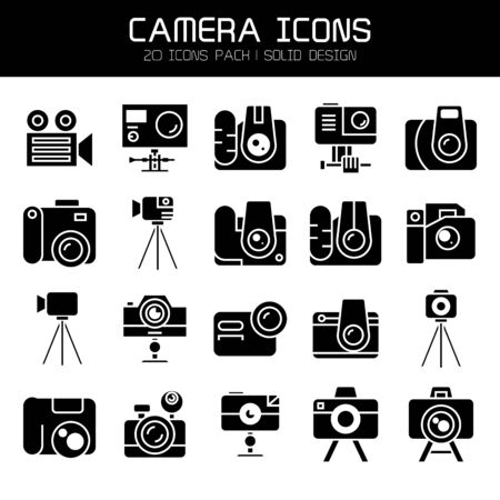digital camera, and action camera icons set