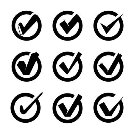 check list and tick symbols set Ilustración de vector