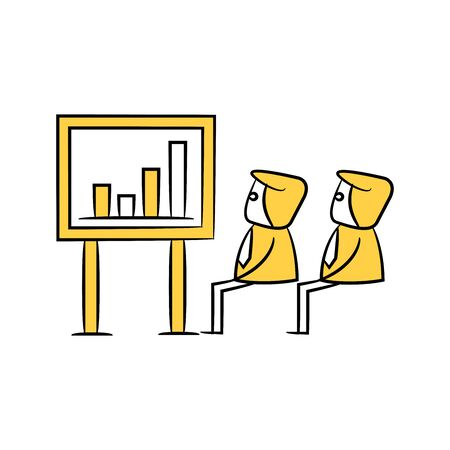 businessman monitoring bar chart on screen yellow stick figure