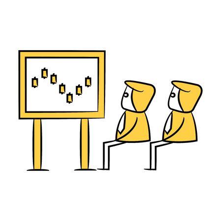 businessman monitoring data graph, stock market yellow stick figure