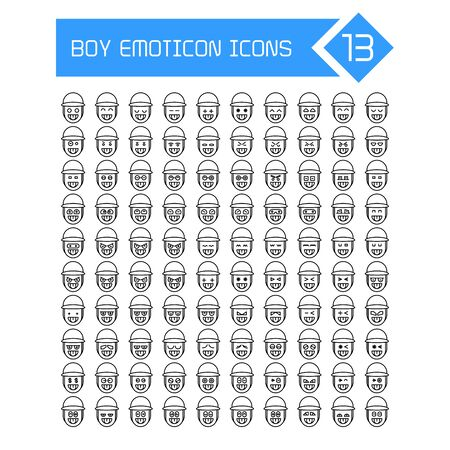 boy face emoticons icons line set