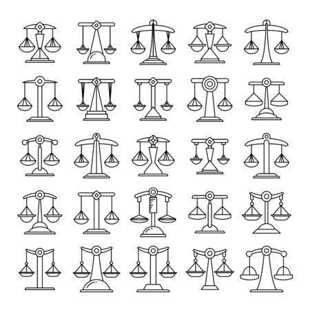 justice scale, balance scale icons set line design
