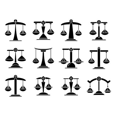 justice scale, balance scale icons set