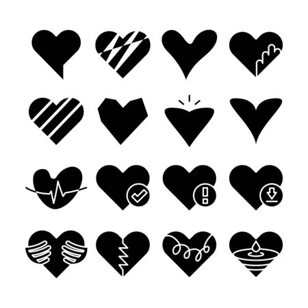 Heart love icons vector set
