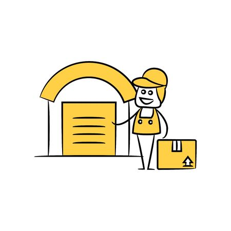service man, delivery man standing next to warehouse stick figure theme Illustration
