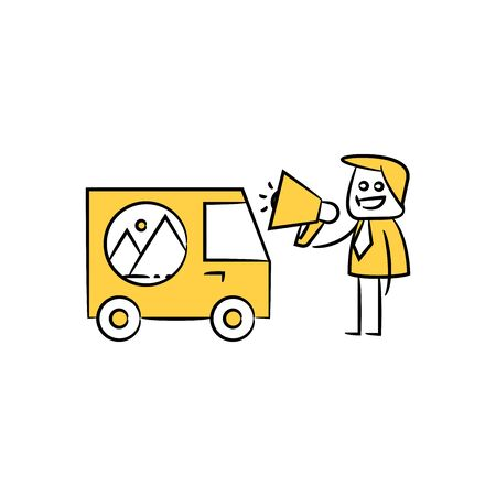 marketer holding megaphone and standing next to  advertising car yellow stick figure design