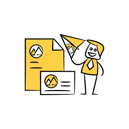 marketer and branding design document yellow stick figure design