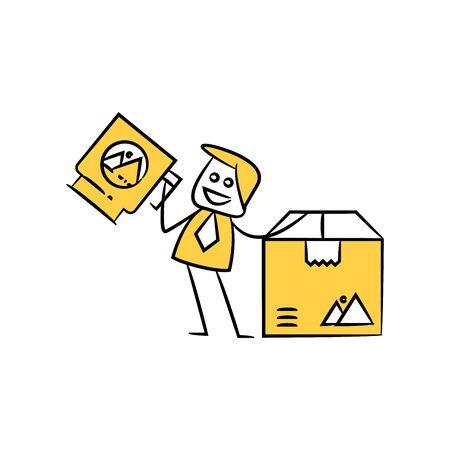 businessman holding mug and packaging box and branding design yellow stick figure design Vettoriali