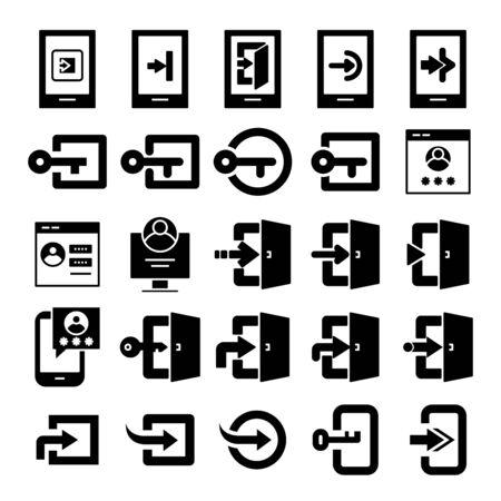 login and sign in icons set Vektoros illusztráció