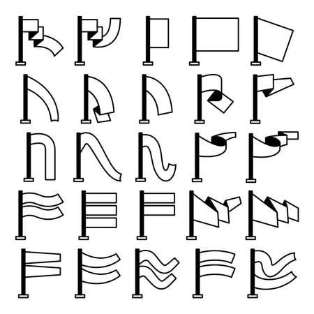 vector set of flag and pennant icons