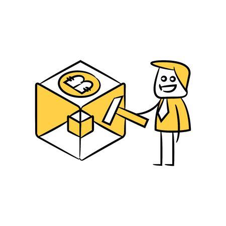 businessman bitcoin cube mining yellow doodle hand drawn