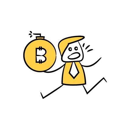 businessman holding bitcoin bomb for financial crisis concept yellow doodle stick figure design