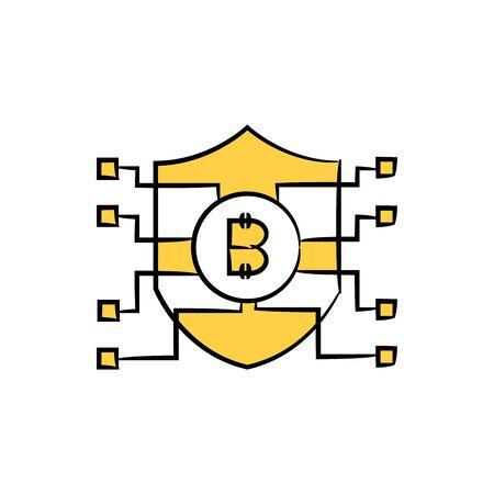 bitcoin shield for bitcoin security concept icon
