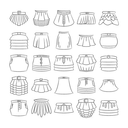 sketch and hand drawn skirt icons set Векторная Иллюстрация